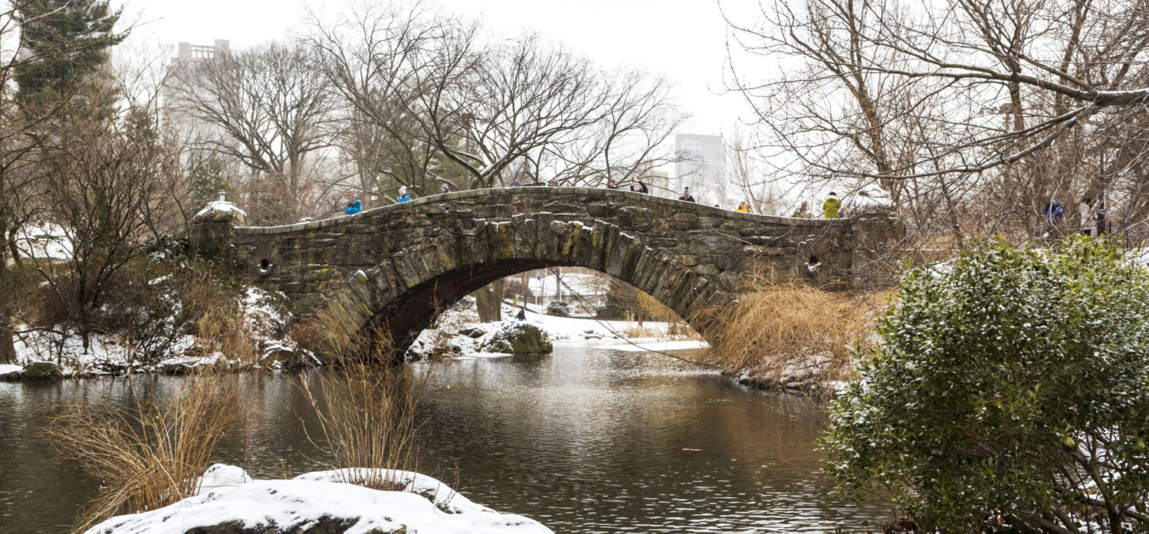Gapstow Bridge shown in winter spanning the Pond