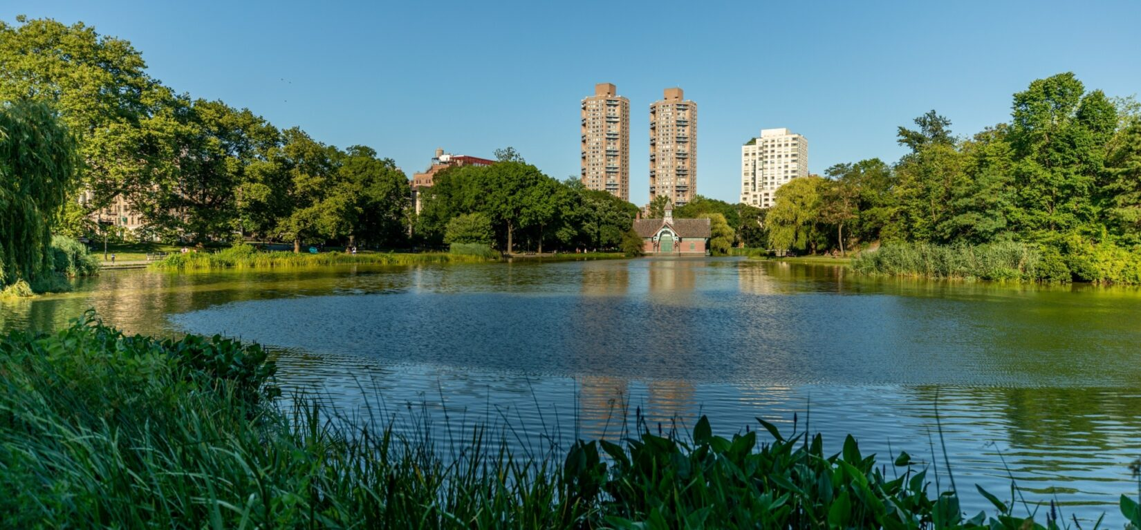 Looking across the Harlem Meer to the Dana Center