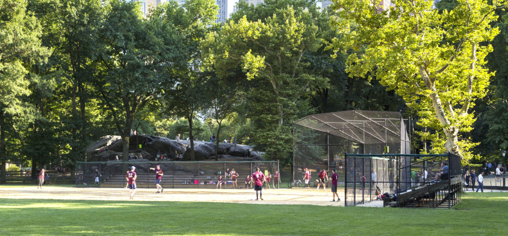 A softball game takes place under trees and the skyline of 59th Street