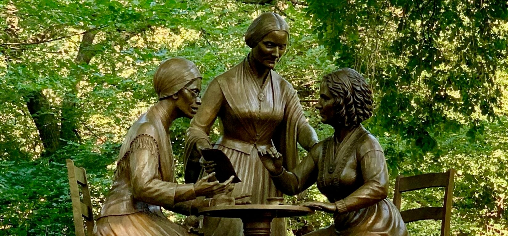 The bronze figures of Sojourner Truth, Susan B. Anthony, and Elizabeth Cady Stanton
