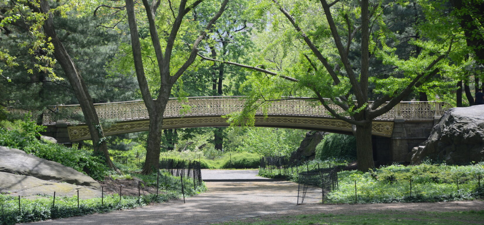 The Pinebank Arch spans a walking path, shot in spring